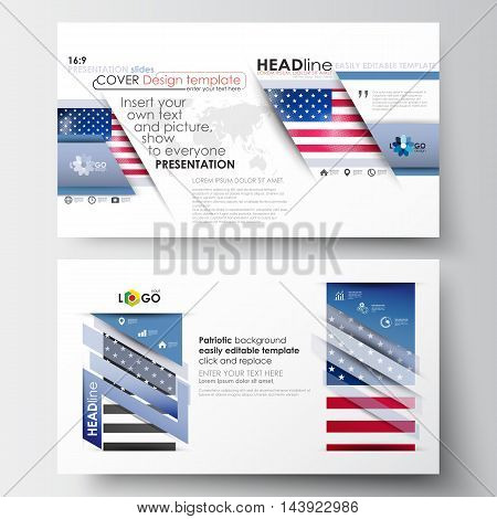 Business templates in HD size for presentation slides. Easy editable abstract layouts in flat design. Patriot Day background with american flag, vector illustration.