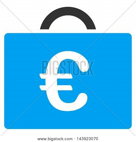 Euro Bookkeeping Case icon. Vector style is bicolor flat iconic symbol, blue and gray colors, white background.