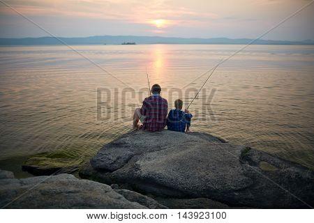 Fishing on sunset