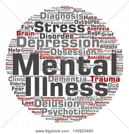 Concept conceptual mental illness disorder management or therapy round abstract word cloud isolated on background, metaphor to health, trauma, psychology, help, problem treatment rehabilitation