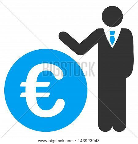 Euro Economist icon. Vector style is bicolor flat iconic symbol, blue and gray colors, white background.