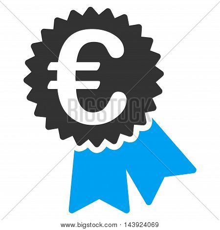 Euro Featured Price Tag icon. Vector style is bicolor flat iconic symbol, blue and gray colors, white background.