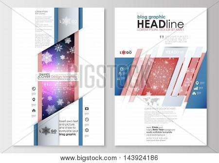 Blog graphic business templates. Page website design template, easy editable, abstract flat layout. Christmas decoration, vector background with shiny snowflakes.