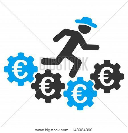 Euro Gears Runner icon. Vector style is bicolor flat iconic symbol, blue and gray colors, white background.