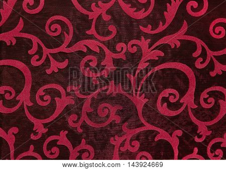 Floral ornament ornament in baroque style. Bright pattern on black background.