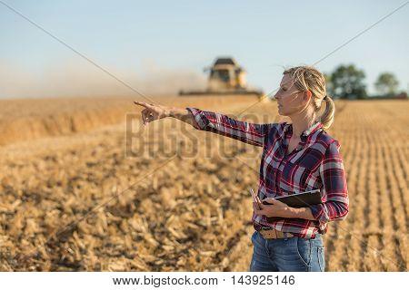 portrait of female farmer in her wheat fields