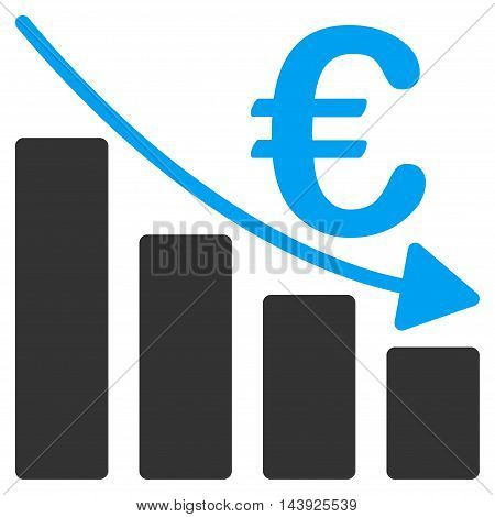 Euro Recession Bar Chart icon. Vector style is bicolor flat iconic symbol, blue and gray colors, white background.