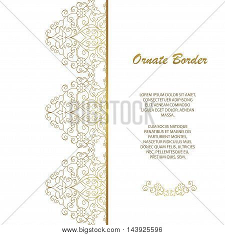 Vector decorative frame. Elegant seamless element for design template, place for text.Floral border. Lace decor for birthday and greeting card, wedding invitation.