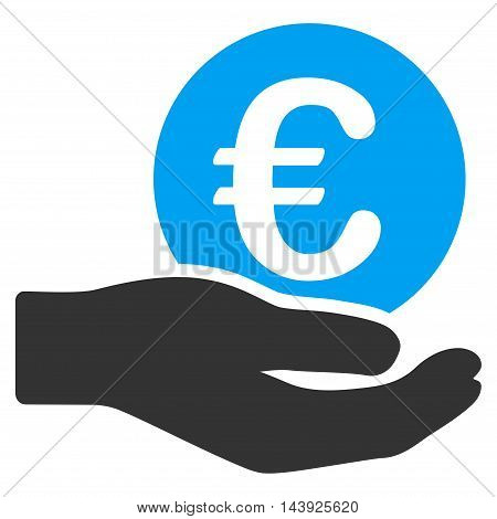 Euro Salary icon. Vector style is bicolor flat iconic symbol, blue and gray colors, white background.