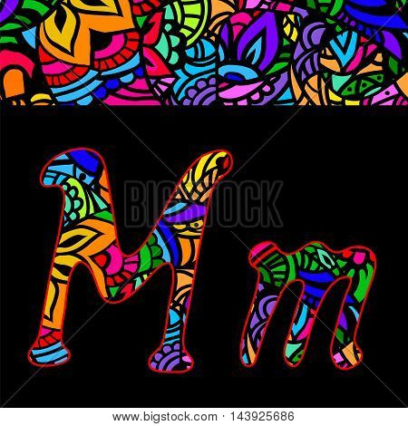 vector capital and small letters M with abstract ethnic patterns. Rich ornate alphabet in orient style. Fancy multicolored letter with a decorative pattern can be used for printing on fabric card