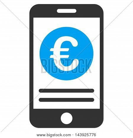 Euro Smartphone Banking icon. Vector style is bicolor flat iconic symbol, blue and gray colors, white background.