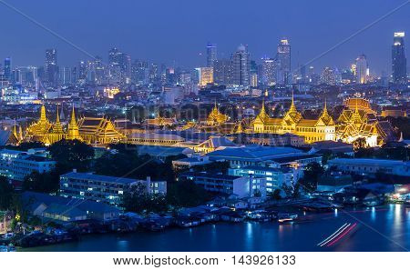 Grand Palace at twilight at Bangkok Thailand