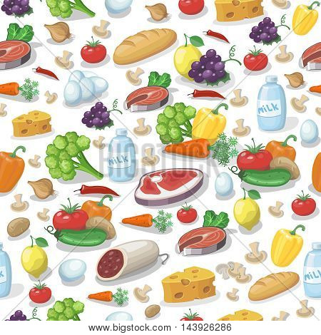 Everyday food products seamless pattern. Milk, meat and tomatoes, cheese
