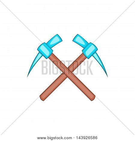 Two picks icon in cartoon style isolated on white background. Tool symbol