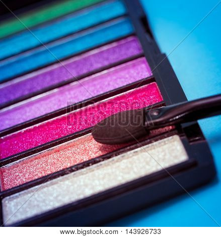 Eye Shadow Makeup Means Soft Brush And Eyes