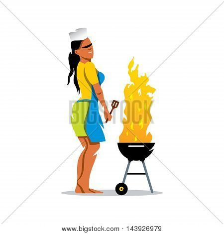 Woman cooking on a grill. Isolated on a White Background