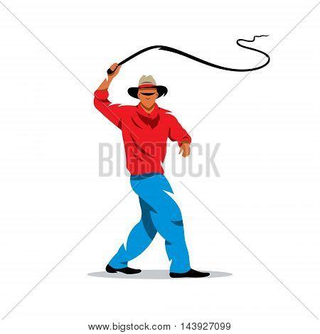 Man swinging rope. Isolated on a white background