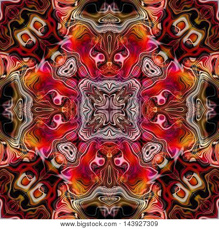 Abstract decorative multicolor (red, brown, orange, white) texture - kaleidoscopic pattern