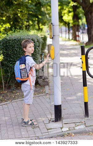 Little 7 Years Schoolboy Pressing A Button On Traffic Lights