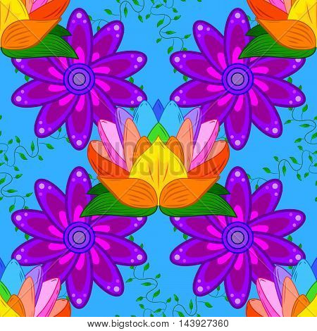 Geometric seamless pattern with petals flower in lilac colors on blue background with colorful lotus.