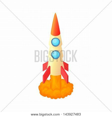 Aircraft rocket icon in cartoon style isolated on white background. Air symbol