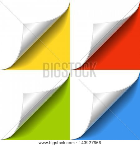 Curled corner of white paper page with shadow on color background vector template. Banner design element  with yellow, red, green and blue background.