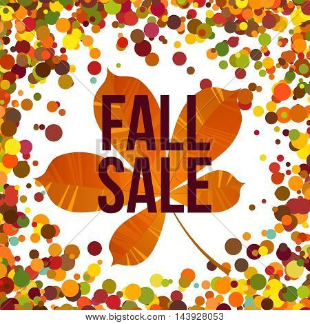 Fall sale. Autumn seasonal sale label on autumnal color confetti background. Vector illustration EPS 10