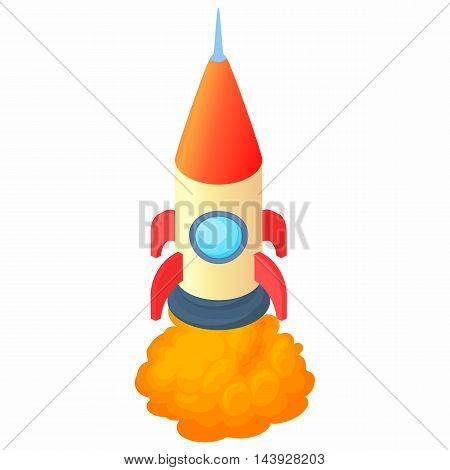 Big rocket icon in cartoon style isolated on white background. Aircraft symbol