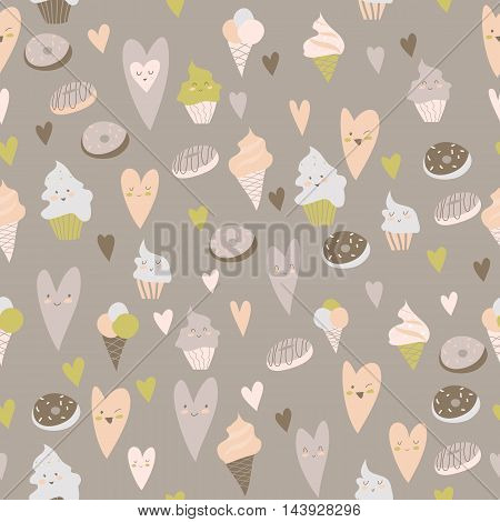 Beautiful seamless pattern of delicious cupcakes, hearts, donuts, on a gray background