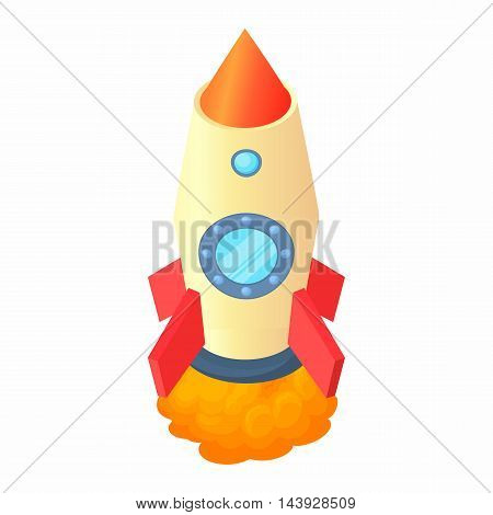 Rocket with two portholes icon in cartoon style isolated on white background. Aircraft symbol