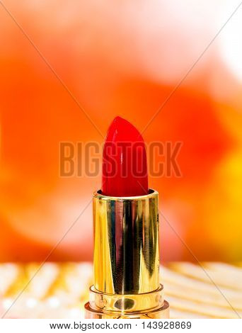 Red Lipstick Makeup Shows Beauty Products And Cosmetics