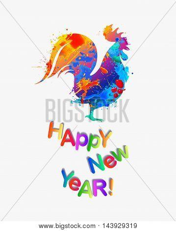 Happy NEW 2017 Year congratulation card. Cock of splash paint