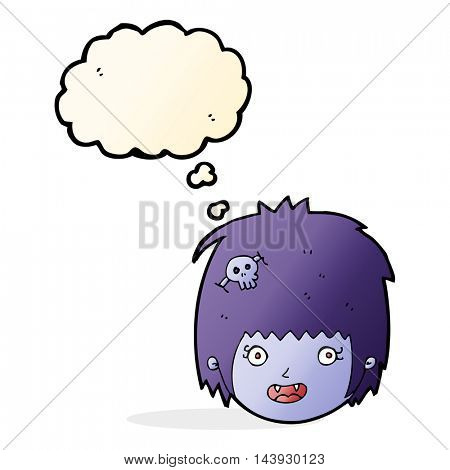cartoon happy vampire girl face with thought bubble