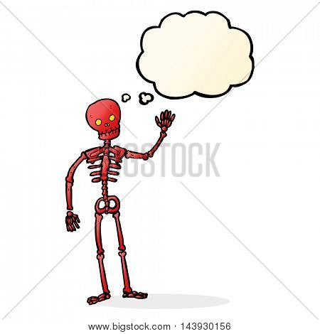 cartoon waving skeleton with thought bubble