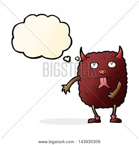 funny cartoon monster with thought bubble