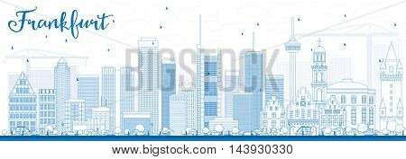 Outline Frankfurt Skyline with Blue Buildings. Business Travel and Tourism Concept with Modern Buildings. Image for Presentation Banner Placard and Web Site.