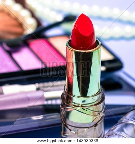 Red Lipstick Represents Beauty Product And Face