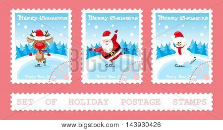 Set of holiday postage stamps with Santa Claus deer snowman on ice rink. Cartoon style isolated on pink background. Vector illustration