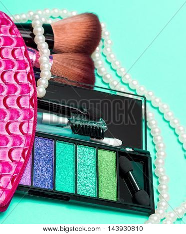 Makeup Kit Indicates Beauty Products And Applicator