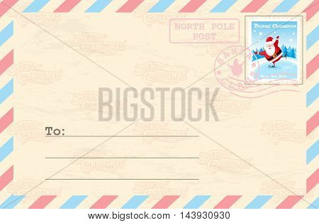 Merry Christmas And Happy New Year Postcard With Postage Stamp Santa Claus On Ice Rink In Funny Cart