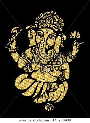 Golden Lord Ganesh on a black background
