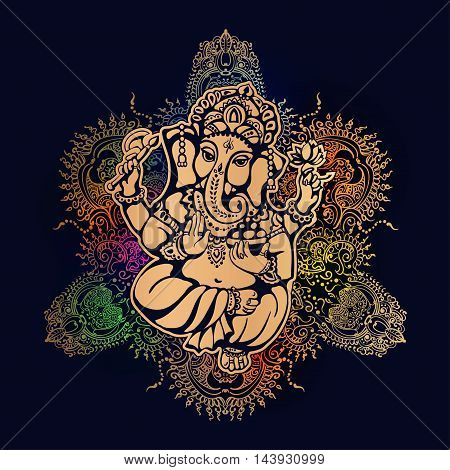 Hindu lord Ganesh against the background of the mandala with mehendi elements. Ganesh Puja. Ganesh Chaturthi. It is used for postcards prints textiles tattoo.