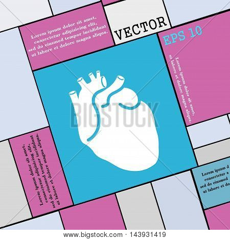 Human Heart Icon Sign. Modern Flat Style For Your Design. Vector