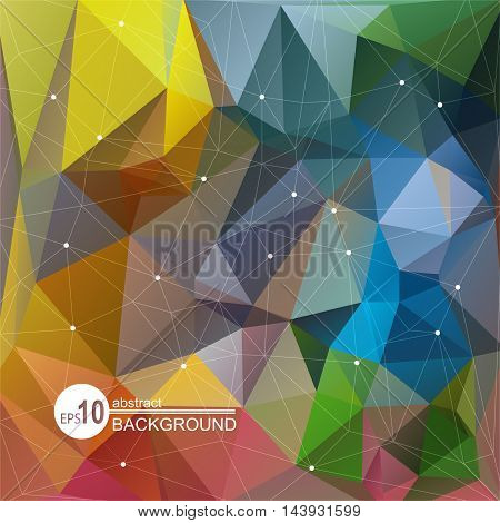 Polygonal abstract background with bright multicolored triangles.