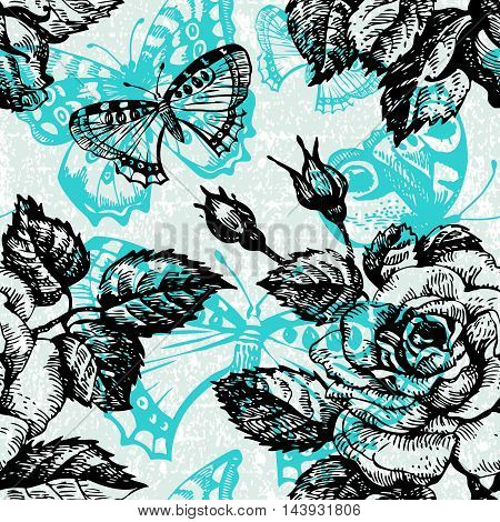 Vintage seamless floral pattern. Hand drawn illustration with butterfly