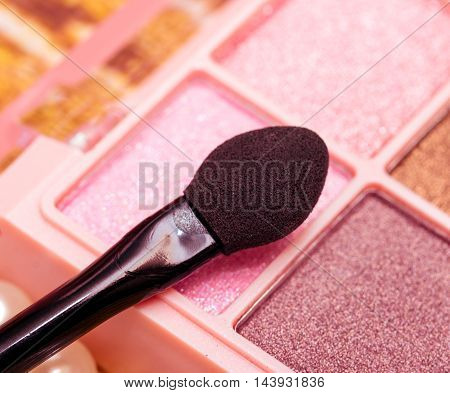Eye Makeup Brush Indicates Beauty Products And Cosmetic
