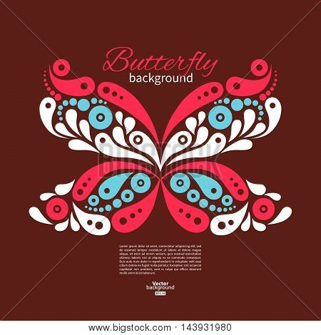 Background with beautiful butterfly. Tattoo vector illustration