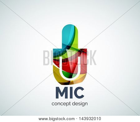 Microphone logo business branding icon, created with color overlapping elements. Glossy abstract geometric style, single logotype