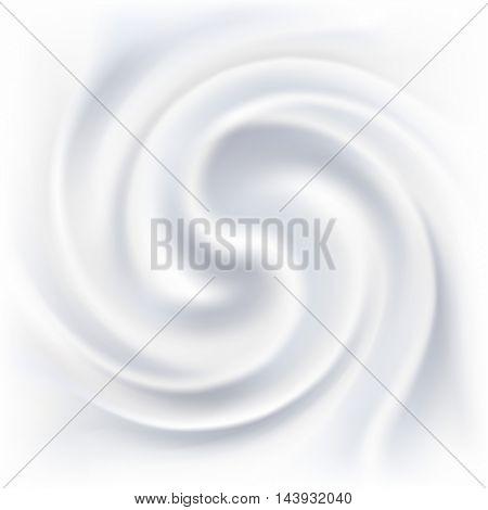 Abstract white cream swirl vector background.