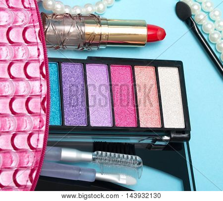 Makeup Kit Shows Eye Shadow And Cosmetology
